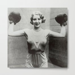 1931 Women's Boxing Champion Elise Conner black and white photograph - black and white photography Metal Print