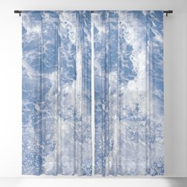Navy Waves Summer Beach Sheer Curtain