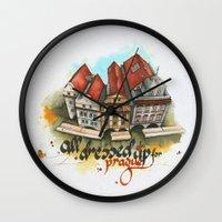 prague Wall Clocks featuring Prague by Hande Unver