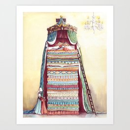 Twenty mattresses & Twenty quilts - From The Princess and The Pea - By: Hans Christian Andersen Art Print