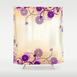 Background Purple Floral Shower Curtain