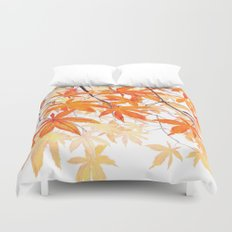 orange maple leaves watercolor Duvet Cover