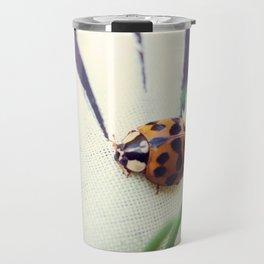 Ladybug On Flower Travel Mug