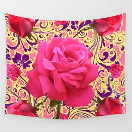 PINK ROSE FLOWERS ON  PINK & YELLOW FILIGREE Wall Tapestry