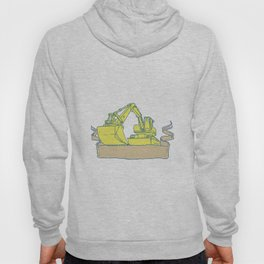 Mechanical Digger Excavator Ribbon Scroll Drawing Hoody