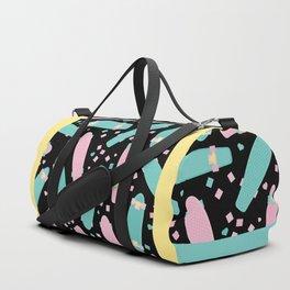 Pastel Skateboards Pattern - Pastel on Black Duffle Bag