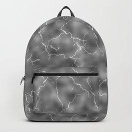 Minimalist White Noise White Marble Distortion Pattern Design Blurry Cracked Crackle Fast Motion Lightning Bolt Backpack