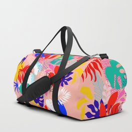 Keep Growing - Tropical plant on peach Duffle Bag