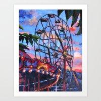 ferris wheel Art Prints featuring Ferris Wheel by Juliette Caron