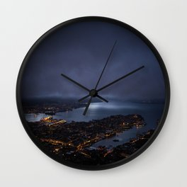 Bergen At Night Wall Clock