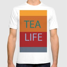 tea White MEDIUM Mens Fitted Tee