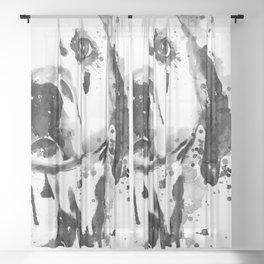 Black And White Half Faced Dalmatian Dog Sheer Curtain