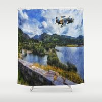 aviation Shower Curtains featuring Lake Flight 1940's by Ian Mitchell