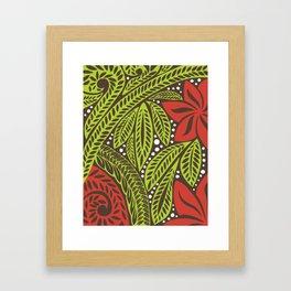 Polynesian flower floral green red tattoo design Framed Art Print