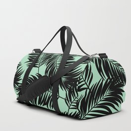 Palm Frond Tropical Décor Leaf Pattern Black on Mint Green Duffle Bag