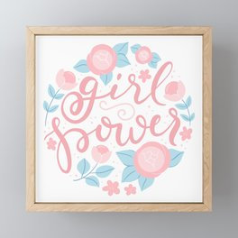 Girl power - hand lettering Framed Mini Art Print