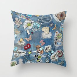Jeans Bling Throw Pillow