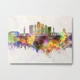 Oklahoma City skyline in watercolor background Metal Print