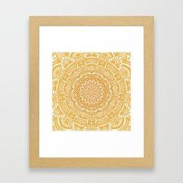 Golden Mustard Yellow Orange Ethnic Mandala Detailed Framed Art Print