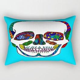 The Pieces Fit Ink Mosaic Anatomical Sugar Skull Rectangular Pillow