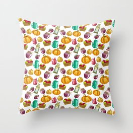 Autumn  Pattern with Food and Drink and Lamp Throw Pillow