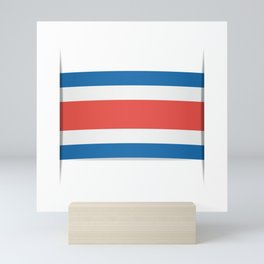 Flag of Costa Rica. The slit in the paper with shadows. Mini Art Print