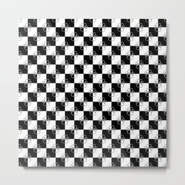 Black and White Checker Dog Paws Metal Print