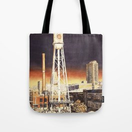 Watercolor painting of  water tower on the American Tobacco Campus in downtown Durham, NC at sunset Tote Bag