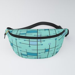Intersecting Lines in Mint and Blues Fanny Pack