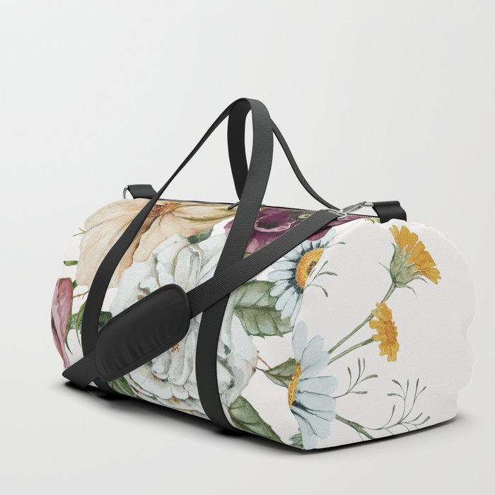 Colorful Wildflower Bouquet on White Duffle Bag