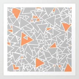 A Bazillion Triangles (Orange Gray) Art Print