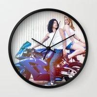 vampire diaries Wall Clocks featuring Motorcycle Diaries by Marcus Meisler