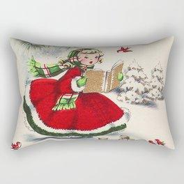 Vintage Christmas Girl Rectangular Pillow