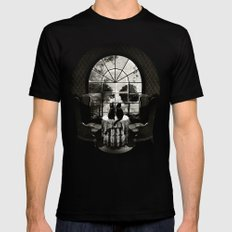 Room Skull B&W MEDIUM Black Mens Fitted Tee