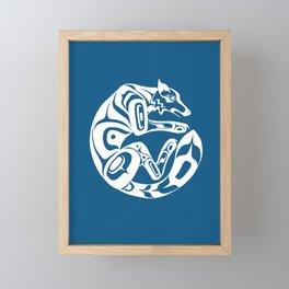 Formline Wolf (canine) circular design Framed Mini Art Print
