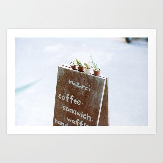 Outside the Coffee Shop Art Print