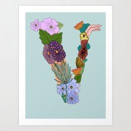 Floral Letter V Art Print
