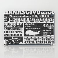 newspaper iPad Cases featuring Vintage Celeberate Thanksgivukkah Newspaper Poster by Cosmik Monkey
