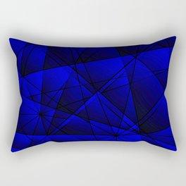 Geometric web of blue lines with dark triangular highlights. Rectangular Pillow
