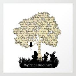 We're All Mad Here II - Alice In Wonderland Silhouette Art Art Print