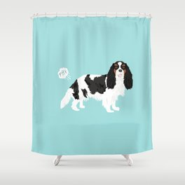 Cavalier King Charles Spaniel tricolored funny farting dog breed gifts Shower Curtain