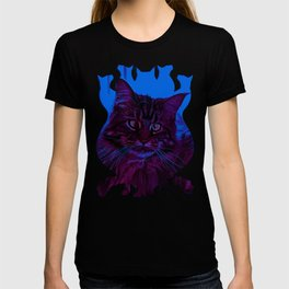squinting maine coon cat vector art night from day T-shirt