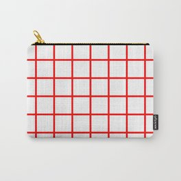 GRID DESIGN (RED-WHITE) Carry-All Pouch