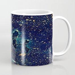 Pillars of Creation GalaxY  Teal Blue & Gold Coffee Mug