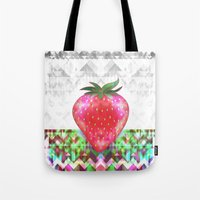 strawberry Tote Bags featuring Strawberry by Ornaart