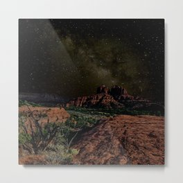 Cathedral Rock under Starlight Metal Print