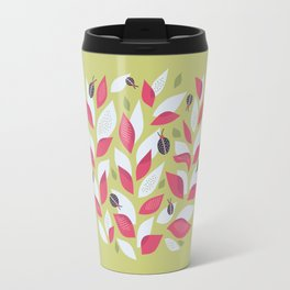 Pretty Plant With White Pink Leaves And Ladybugs Travel Mug