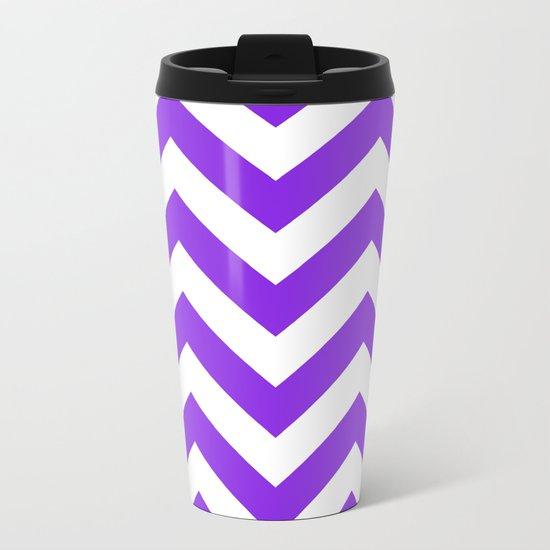 Large chevron pattern / blue violent Metal Travel Mug