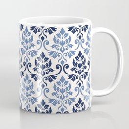 Feuille Damask Pattern Blues on Cream Coffee Mug