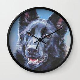 black German Shepherd dog portrait art from an original painting by L.A.Shepard Wall Clock